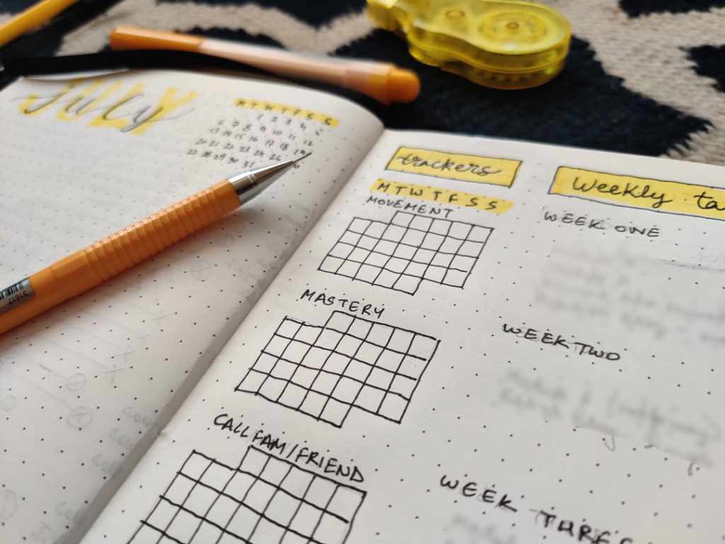 habit trackers in monthly spread